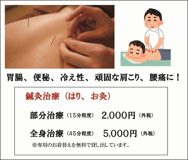 料金システム、鍼灸治療